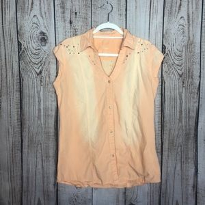 Rock 47 by Wrangler Orange Embellished Shirt L